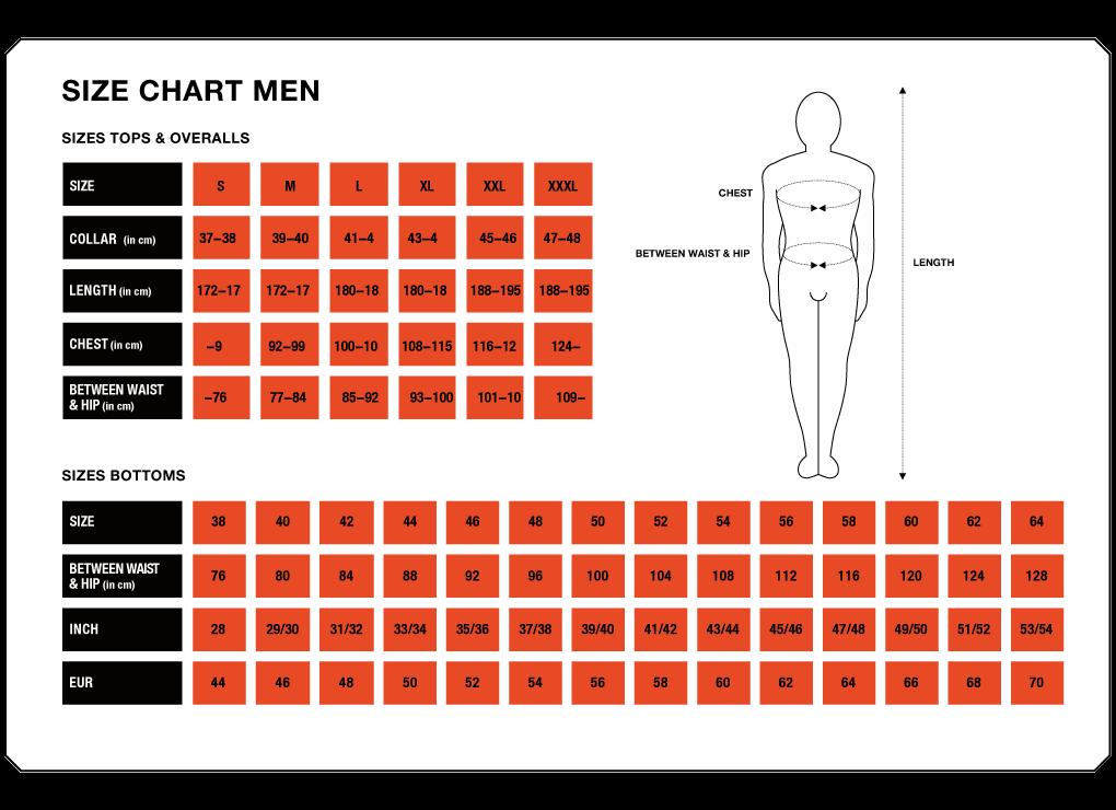 Tableau des taille homme